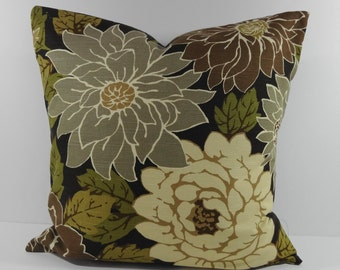 Decorative Pillow Cover, Robert Allen Designer Olive Green Pillow Cushion,  Flowers, Floral, Green and Brown, 18 x 18