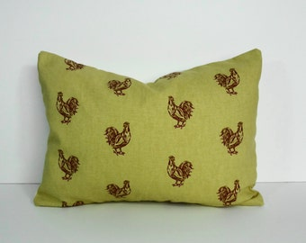 Rooster Decorative Pillow Cover, HenThrow Pillow Cover, Lumbar Cushion Cover, 12 x 16, gold and red