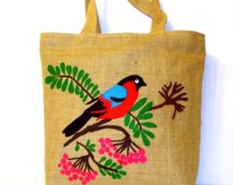 Red cardinal handmade Jute Tote bag ,OOAK , shoppers, market bag,hand cut applique, unique artful piece