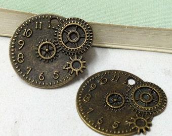25pcs Antique Bronze Round Disc Mechanical Clock Charm Pendants 20x23mm C504-6