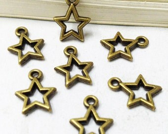 Star Charms -50pcs Antique Bronze Empty Stars Charm Pendants 10mm C306-6
