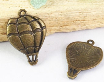 25pcs Hot Air Balloons Charms - Antique Bronze Charm Pendants 17x24mm E206-5
