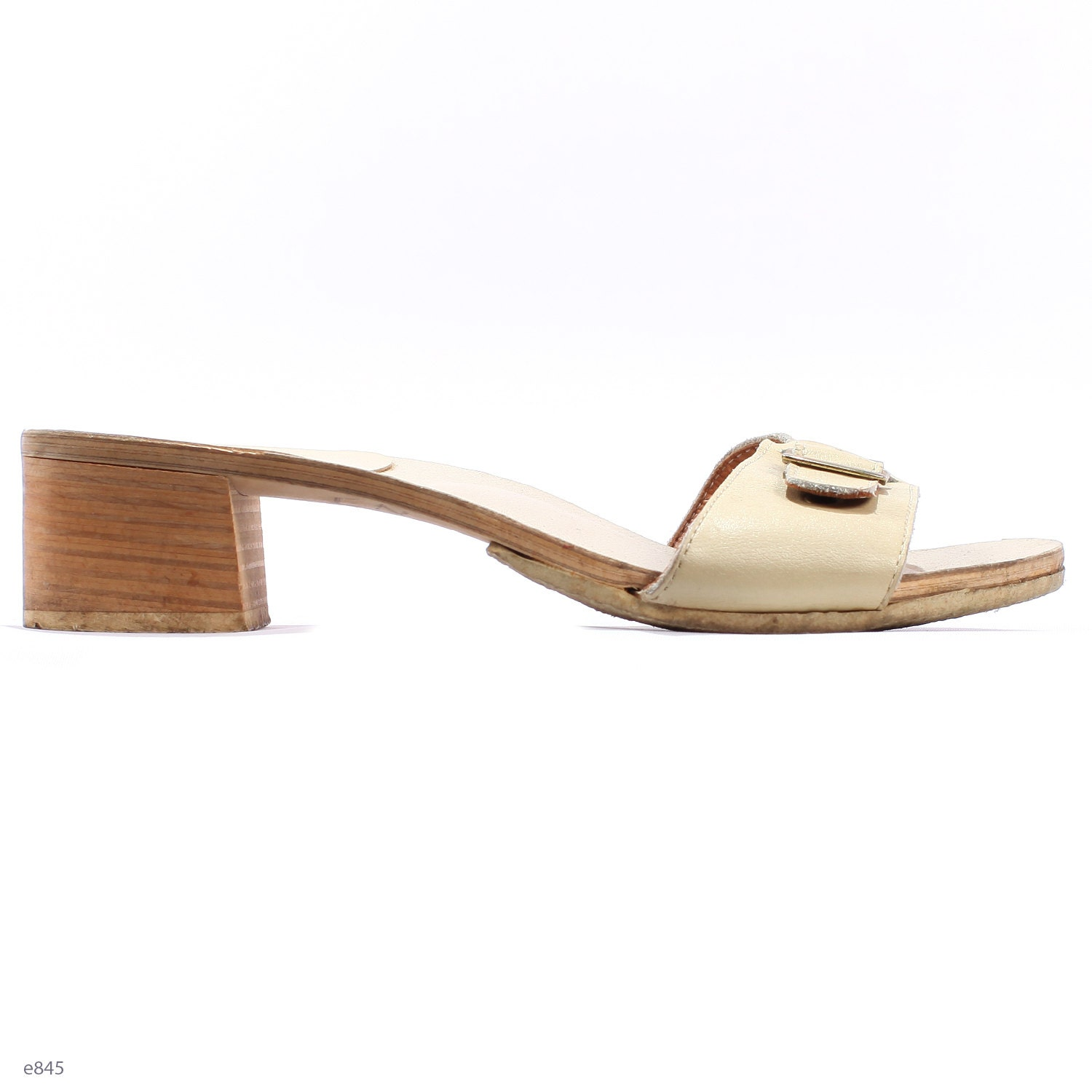 Vintage 80s Mules Wooden Sole Swedish Clogs Wedges Leather