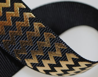 "Gold Metallic Chevrons on Black 7/8"" Wide"