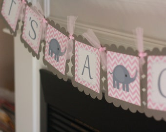 "Baby Shower Pink & Grey Chevron Elephant ""It's a Girl"" Baby Shower Banner - Ask About Party Pack"