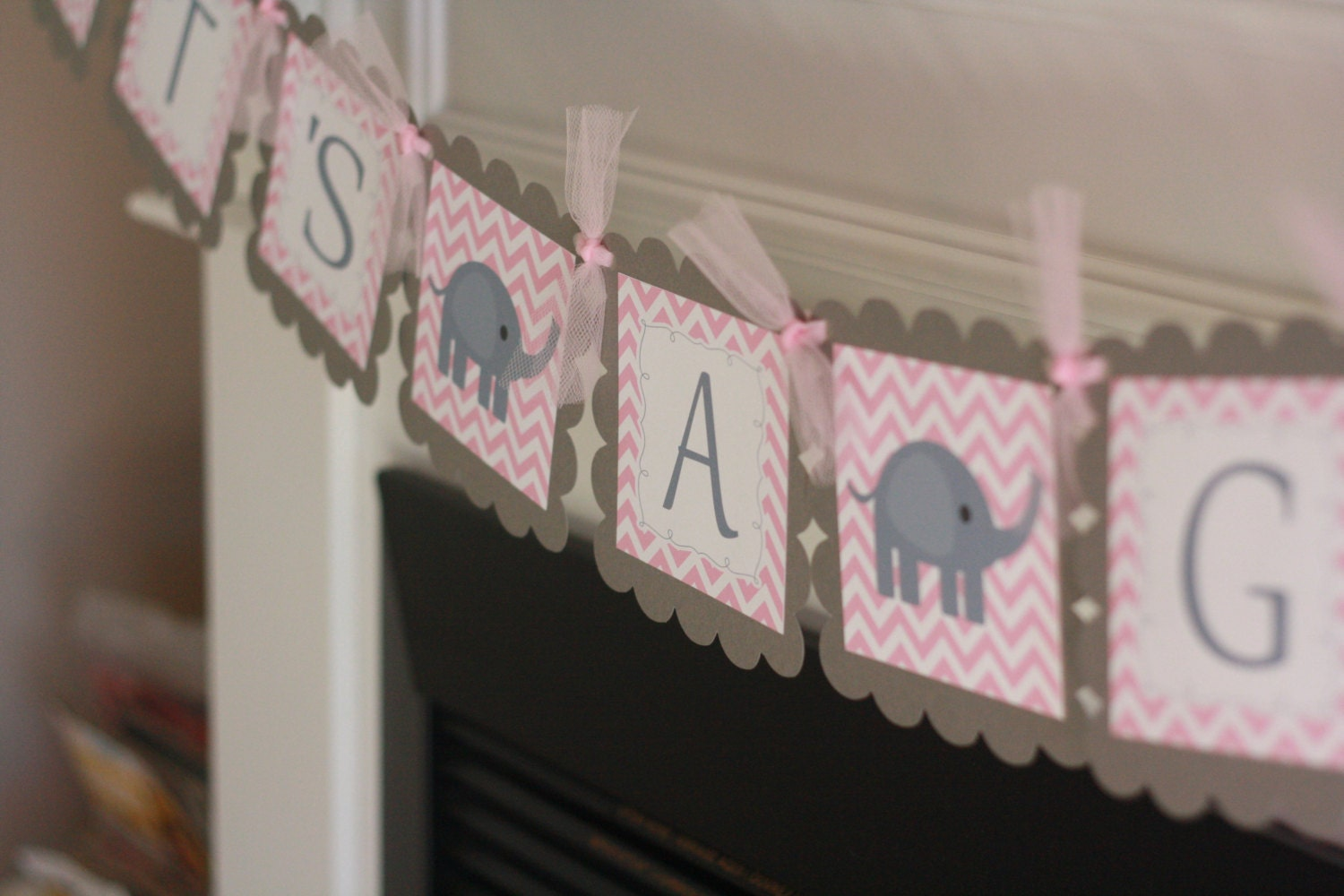 Baby shower pink grey chevron elephant it 39 s a - Baby shower chevron decorations ...