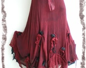 Long gothic black and burgundy skirt - bohemian/boho look or goth