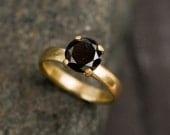 Black Diamond Ring - 18K Gold Black Diamond Engagement Ring - Solitaire Black Diamond Ring - Handmade Black Diamond Ring - FREE SHIPPING