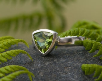Peridot Ring - Peridot Trillion Ring - Triangle Ring with Peridot Green Gemstone Ring Set in Sterling Silver - Made To Order - FREE SHIPPING