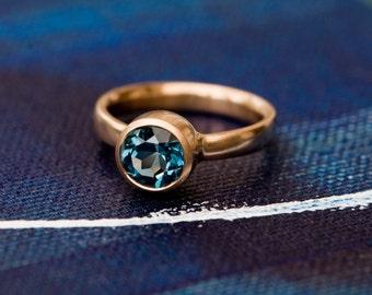 Blue Topaz Ring - London Blue Topaz Gold Ring - Blue Topaz set in 18 carat Rose Gold - Made to order - FREE SHIPPING