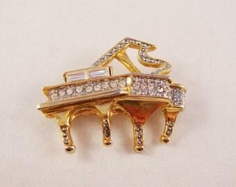 Vintage Gold & Rhinestone Piano Brooch