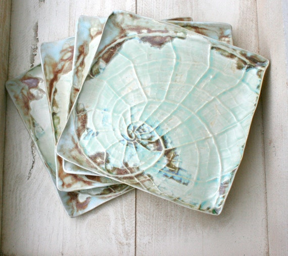 Handmade Ceramic Platter In Coastal Kitchen: Items Similar To Nautilus Shell Plate, Handmade Plate