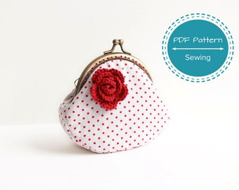 coin purse pattern, sewing pattern, frame purse tutorial for curved frame purse, 8 cm, 10cm, 10.5cm  3.15in 3.93in frame