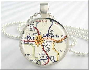 Reno Map Necklace Pendant Resin Charm Reno Sparks Nevada Travel Map Jewelry (662RS)