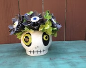 Kusudama Paper Flower Arrangement with Skull container and Eyeballs