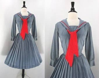 Vintage 50s Dress Set Skirt Blouse Blue Gray Check Red Tie Piping Metal Zipper Skirt Button Top Sailor School Girl Vibe 1950s Dr
