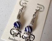 Painted Blue Swirl Earrings