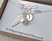 Angel wing personalized necklace with special meaning gift card, thank you, friend, bridesmaid, wedding, freshwater pearl, anniversary,