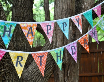 XL Happy Birthday fabric banner bunting, Girls bright colored birthday party decoration, photo prop