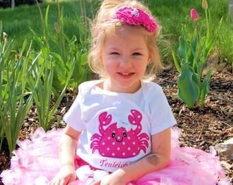 Girls Beach Birthday- Girls Crab birthday- Girls Beach Party- GIrls Crab shirt- Girl Under the Sea Birthday- Under the Sea Party- Crab Shirt