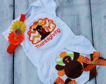 Baby girl 1st Thanksgiving-- First Thanksgiving-- Baby Thanksgiving-- Baby Turkey Shirt-- Turkey tutu-- Baby girl Turkey