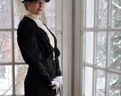 Edwardian Antique Fine Wool Broderie Black and Cream Skirt Blouse Jacket Set.