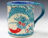 Sgraffito DRAGON ART Pottery MUG - 5-Toed Asian Monster Folk Art - Sgraffito Carved Ceramics - Bulging Eyes, Fiery Tongue, Sharp Claws