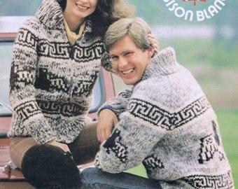 White Buffalo Wool Cowichan Zip Cardigan Sweater Knitting Pattern Instant Download