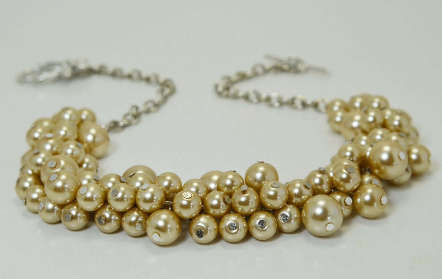 Champagne pearl necklace wedding jewelry bridal necklace for Jewelry for champagne wedding dress