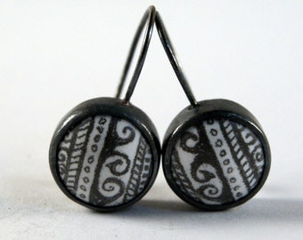 The Little Details - Glass Enamel Drawings and Oxidized Sterling Silver