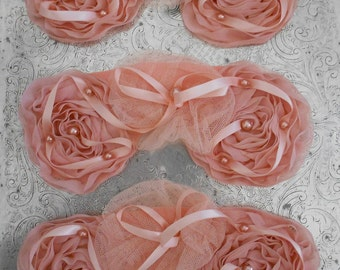 Rose Pink Ribbon Pearl Rosettes