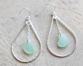 Sea Glass & Sterling Silver Peacock Earrings - Seafoam