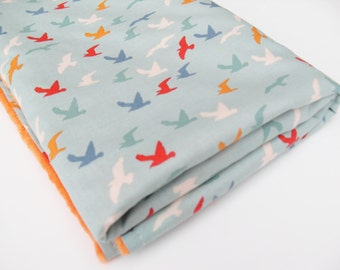 Baby Blanket in Seagulls design - Baby Boy Shower gift idea - Ready to ship