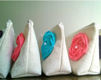 Mix and Match - Linen Country Wedding Clutch Purse, Linen, Bridesmaid Gift - Set of 3