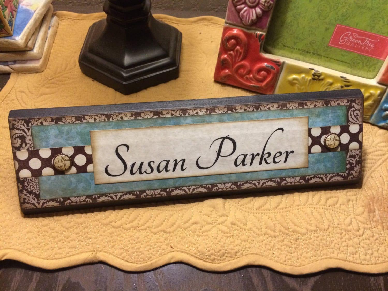 Unique wooden office desk name plate plaque block handmade