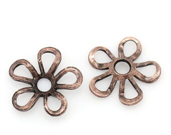 200  Copper Bead Caps - WHOLESALE - Antique - Flowers - Fits 16mm Beads - 9x9mm - Ships IMMEDIATELY from California - B1035a