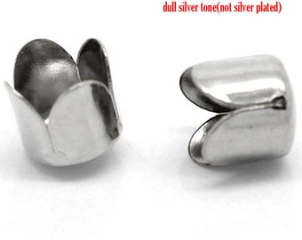50 Bead Caps - Antique Silver - Fits 8mm - Ships IMMEDIATELY from California - B1115