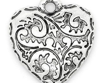 5 Heart Pendants - Antique Silver - Embossed Paisley Print - 24x22mm - Ships IMMEDIATELY - SC1055