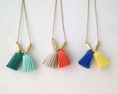 Tassel Necklace : Summer Jewelry - Double Tassel with Mix Brass on Leather Cord