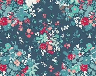 Art Gallery Fabrics - NouvElle Femme Metale Sapphire by Pat Bravo
