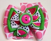 Pink Polka Dot Green Stripe WATERMELON Summer Button Stacked Boutique Style Ribbon Bow Handmade for PETS Dog Collar Accessory