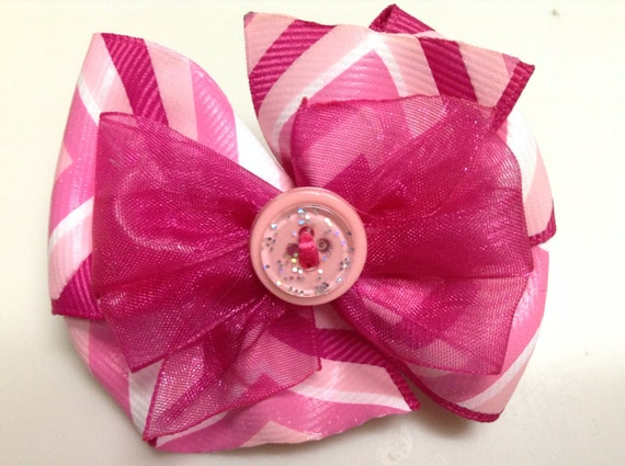 Pink and White Stripes So Pink Button VALENTINES Stacked Boutique Style Ribbon Bow Handmade for PETS Dog Collar Accessory