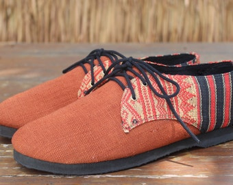 Vegan Men's Shoes Oxfords In Natural Hemp & Naga Tribal Embroidery - Alex