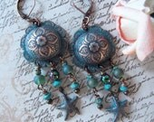 Aqua Patina Copper Clad Brass Dangle Chandelier Earrings With Starfish