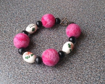 Bracelet with needle felted beads and chinese style porcelain beads gift under 25