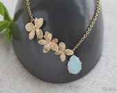 Flower Dew Necklace, Aqua Blue Necklace, Orchids Necklace, Wedding Jewelry, Something Blue