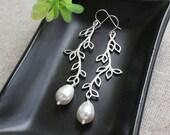 Leaf Branch Pearl Earrings, Teardrop Swarovski Pearls, Bridesmaids Earrings, Wedding Jewelry, June Birthstone, White Ivory Pink Grey Pearl
