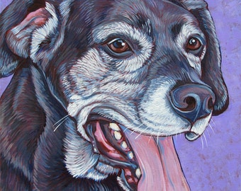 "10"" x 10"" Custom Pet Portrait Painting in Acrylic on Ready to Hang Canvas of One Dog, Cat, or Other Animal"