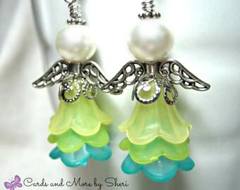 Angel Earrings - Lime Turquoise