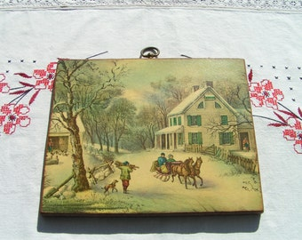 50s WINTER Farm Print on Wood with Brass Hanger